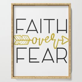 INSPIRATIONAL CHRISTIAN BIBLE VERSE product - FAITH OVER FEAR Serving Tray