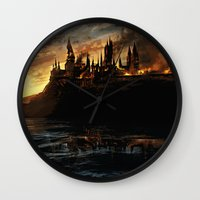 harry potter Wall Clocks featuring Harry Potter - Hogwart's Burning by Juniper Vinetree