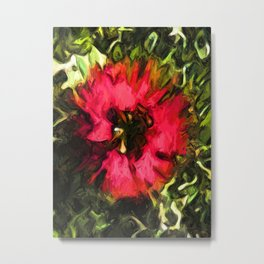 Flower of Red with Green Leaves 1 Metal Print