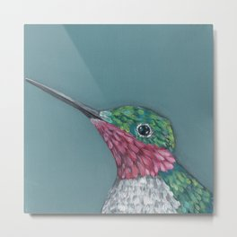Ruby Throated Hummingbird Portrait Metal Print