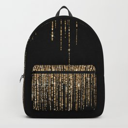 Luxury Chic Black Gold Sparkly Glitter Fringe Backpack