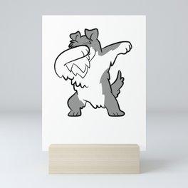 Cute Dabbing Schnauzer Terrier Dog Dabbing Schnauzer Mini Art Print