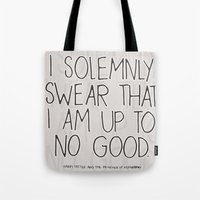 harry potter Tote Bags featuring Harry Potter Quote #1 by Marcela Caraballo