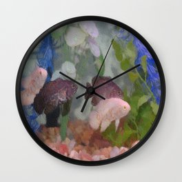 Four Oscars swimming in an aquarium (Painted) Wall Clock