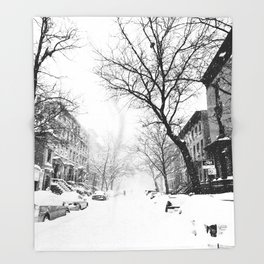 New York City At Snow Time Black and White Throw Blanket