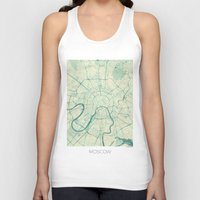 moscow Tank Tops featuring Moscow Map Blue Vintage by City Art Posters