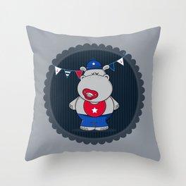 Nautical Hippo Throw Pillow