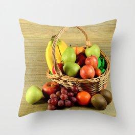 Caribbean fruit basket Throw Pillow