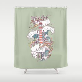 Whales and Waves Shower Curtain