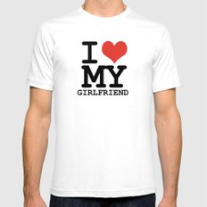 I love my girlfriend Mens Fitted Tee White LARGE