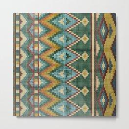 Geometric Art, Aztec Print, Green, Teal, Red, Gold, Wall Art Boho Metal Print