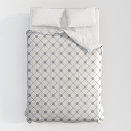 Pantone Lilac Gray Thin Line Stripe Grid (Pinstripe) and Polka Dots on White Comforters