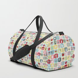 Retro Coffee Pots and Cups Pattern Duffle Bag