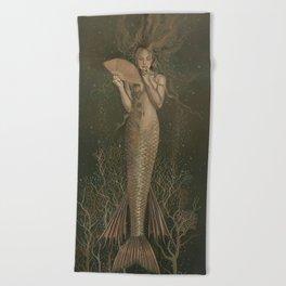 """""""Mermaid with Fan No. 5"""" by David Delamare Beach Towel"""