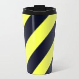 Black and Yellow Diagonal Stripes Travel Mug