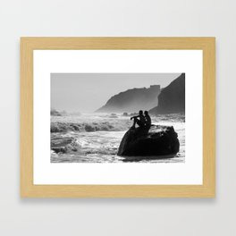 Block Island in Black and White (Couple at Mohegan Bluffs) Framed Art Print