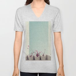 Pink flowers on the white rooftop Unisex V-Neck