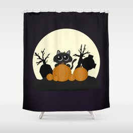 Halloween Black Cat with Pumpkins in a Graveyard Shower Curtain