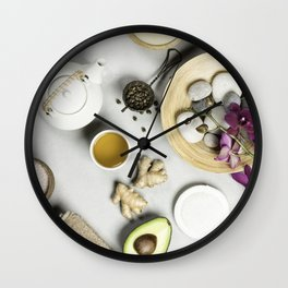 Natural SPA concept on grey concrete background Wall Clock