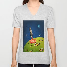 The World Of Outer Space Travel Unisex V-Neck