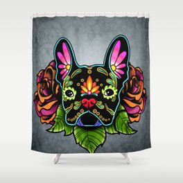 French Bulldog in Black - Day of the Dead Bulldog Sugar Skull Dog Shower Curtain