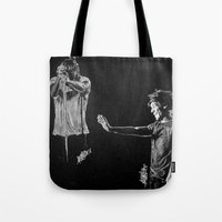 larry david Tote Bags featuring Larry by Drawpassionn