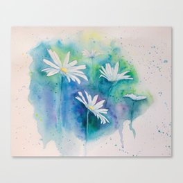 Spring watercolor daisies painting Canvas Print