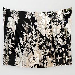 Black and White Flowers by Lika Ramati Wall Tapestry