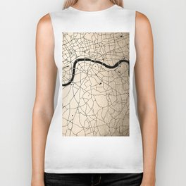 London Gold on Black Street Map II Biker Tank