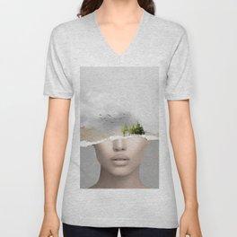 minimal collage /silence2 Unisex V-Neck