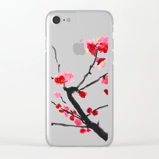 red plum flower red background Clear iPhone Case
