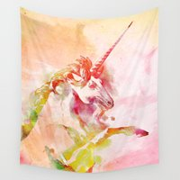 unicorn Wall Tapestries featuring Unicorn by orangpalsu