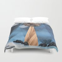voyage Duvet Covers featuring VOYAGE by cedar q waxwing