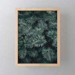 Monstera Leaves - Blue Framed Mini Art Print