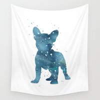 french bulldog Wall Tapestries featuring French Bulldog by Carma Zoe