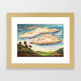 Color clouds in the valey Framed Art Print
