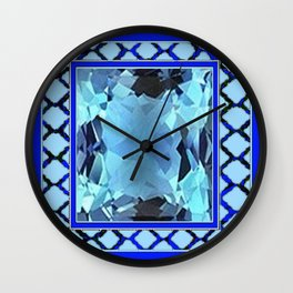AQUAMARINE MARCH GEM BIRTHSTONE MODERN ART Wall Clock