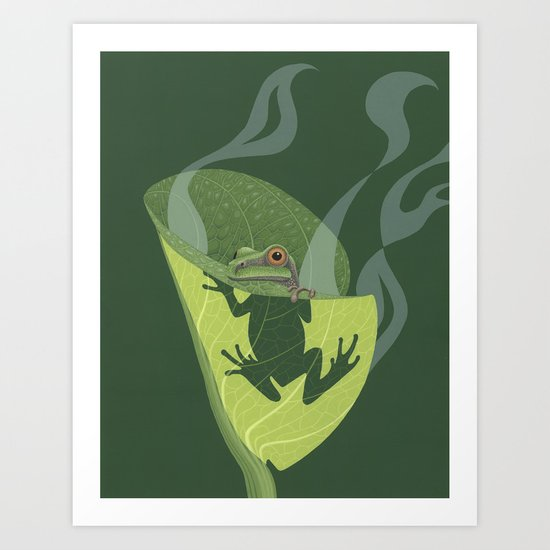 Pacific Tree Frog in Skunk Cabbage Art Print