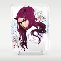 vampire Shower Curtains featuring Vampire by Agnieszka Antosiewicz