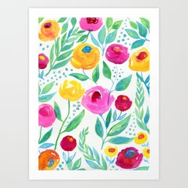 Watercolor Flowers, Yellow Flowers, Pink and Magenta Flowers Art Print
