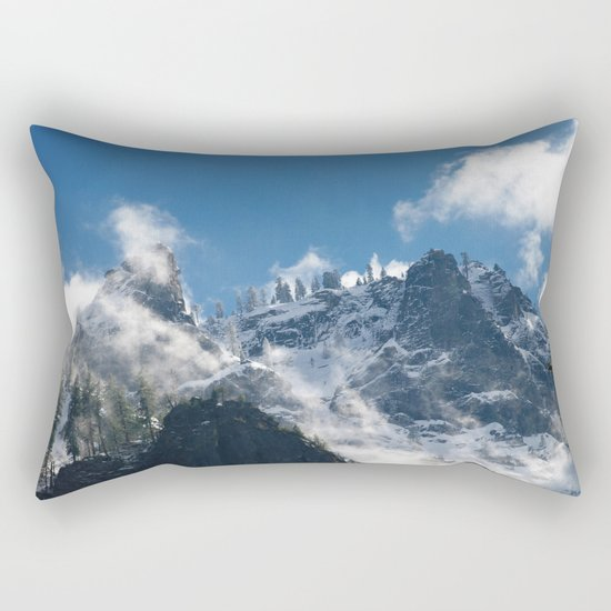 Snow Covered Peaks in Yosemite National Park Rectangular Pillow