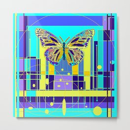 Arty Monarch Butterfly Landscape Abstract Metal Print