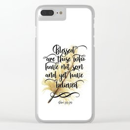 Bible verse feather Scripture typography John 20:29 Clear iPhone Case