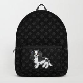 Cute Tricolor Cavalier King Charles Spaniel Dog Cartoon Illustration Backpack