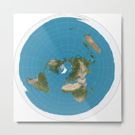 Flat Earth Map  Metal Print