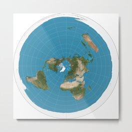 Flat Earth Map  Metal Print