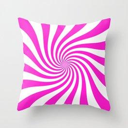 Swirl (Hot Magenta/White) Throw Pillow