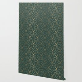 Olive Gold Geometric Pattern With White Shimmer Wallpaper