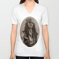jack sparrow V-neck T-shirts featuring Captain Jack Sparrow by Svartrev
