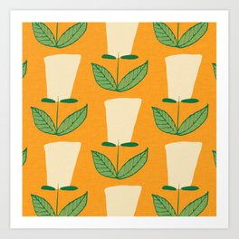 Retro Botanical Mid century Tulip Yellow Art Print